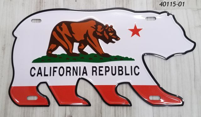 California Souvenir Bear Flag sign shaped like a bear.  Aluminum material.