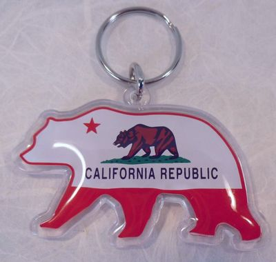 Souvenir plastic keyring California Bear Flag design.   Bear shaped keyring