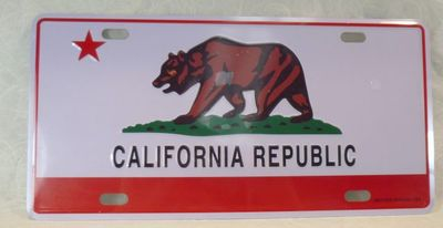 Souvenir embossed license plate with California Bear Flag design.