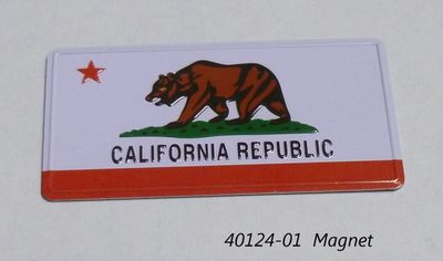 Souvenir magnet California Bear Flag design.  Embossed metal magnet.