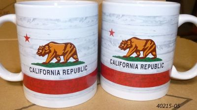 Souvenir mug coffee cup with California Bear Flag design