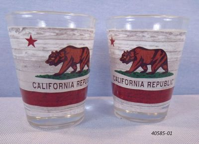 Souvenir shotglass with California Bear Flag design