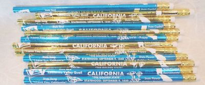 Souvenir foil pencil with California State facts.