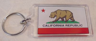 Souvenir plastic keyring.   California Bear Flag design.