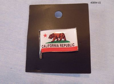 Souvenir pin hat tack with California Bear Flag design.