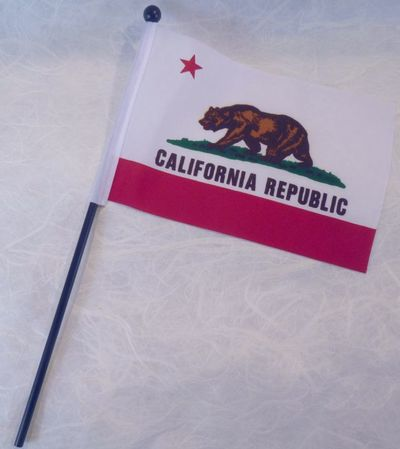 "Souvenir California Bear Flag 4"" x 6"" with plastic pole."