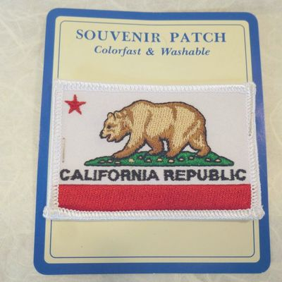 Souvenir Embroidered Patch with California Bear Flag design.