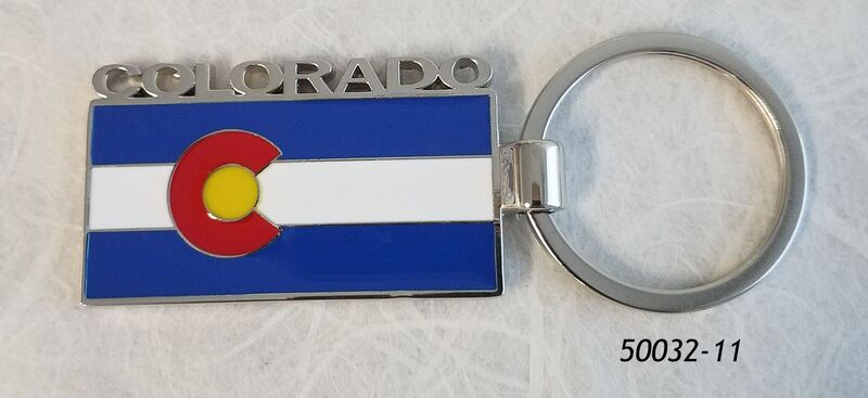 Souvenir Colorado Flag Keyring (metal) with Silver cutout Letters spelling Colorado