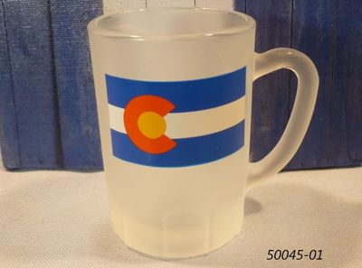 Colorado Flag design souvenir frosted mini glass stein shotglass