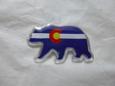 Colorado Souvenir Bear shaped magnet Flag Design