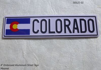 "Colorado 4"" Street Sign Souvenir magnet with Flag"