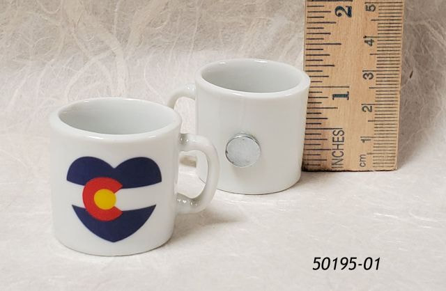 50195-01 Miniature coffee cup souvenir magnet with Colorado Flag heart design
