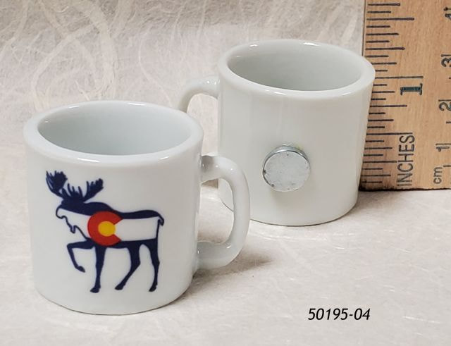 50195-04  Colorado miniature coffee cup souvenir magnet with Moose Flag design.