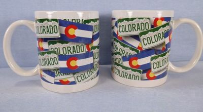 Souvenir Mug with Colorado Flag and license plate design.