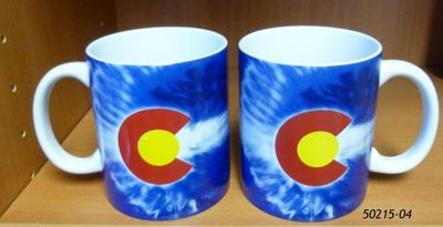 Souvenir Mug with Tie Dye Colorado Flag design