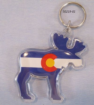 Colorado Souvenir Moose shaped flag keyring