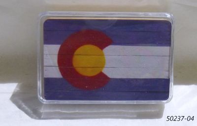 Souvenir Playing cards in a plastic box with Colorado Flag design.