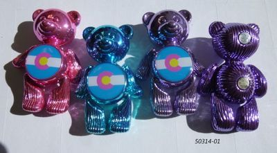 Colorado Souvenir Teddy Bear Metal Magnets in assorted fashion colors