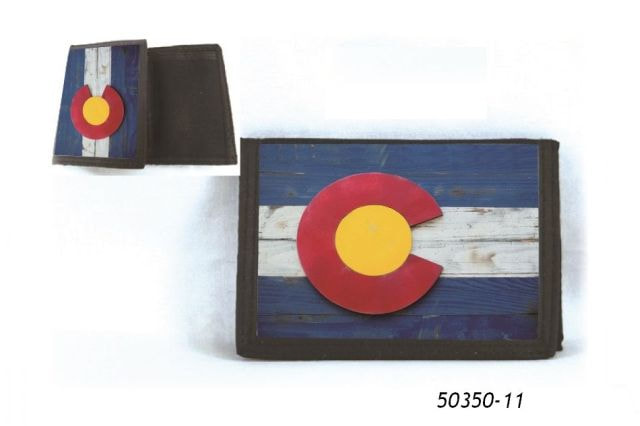Velcro Wallet Souvenir with Colorado Flag Wood Planks design.
