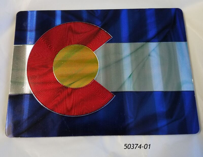 "Colorado Souvenir Foil Etch Magnet with Ripple Flag motif.  2.5"" x 3.5""."