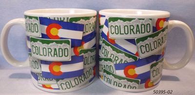 Colorado souvenir Jumbo Mug with flag and license plate design