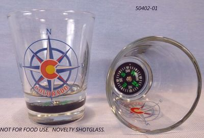 Colorado Souvenir Shotglass with Inset Compass base.  Decoration only, not for food use.