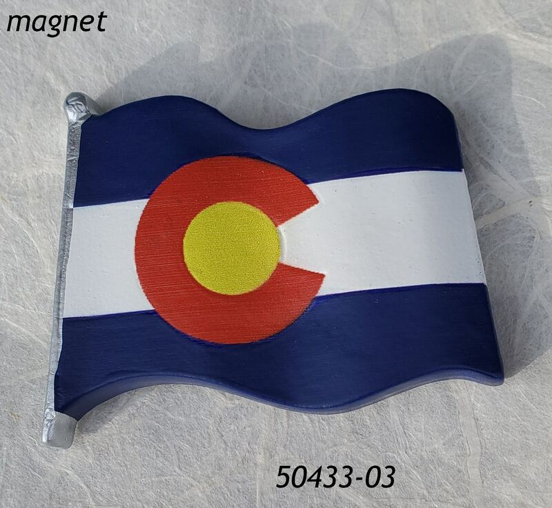 Colorado Souvenir Waving Flag poly resin magnet