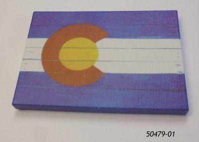 Souvenir Canvas Magnet with Colorado Flag Planks design.