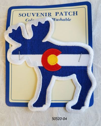 50520-04  Colorado Souvenir Embroidered Patch Moose Flag Design