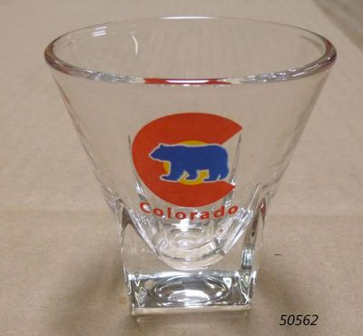Colorado souvenir shotglass with flared brim and Bear design