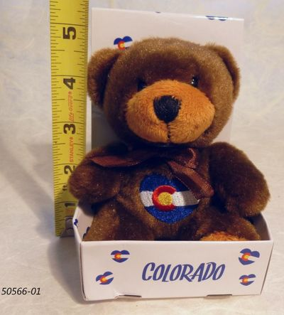 Souvenir Plush bear toy witih Colorado Flag heart shaped embroidery design.