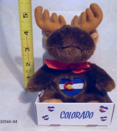 Souvenirs Plush toy moose with Colorado Flag design in heart shaped embroidery.