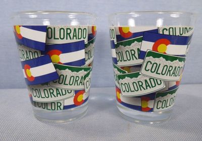 Colorado Souvenir Shotglass with license plate and flag design