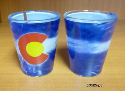 Souvenir Shotglass with Colorado Tie Dye Flag design