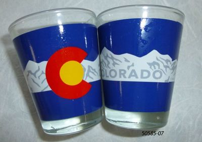 Colorado Souvenir Shotglass.  Flag Mountains design