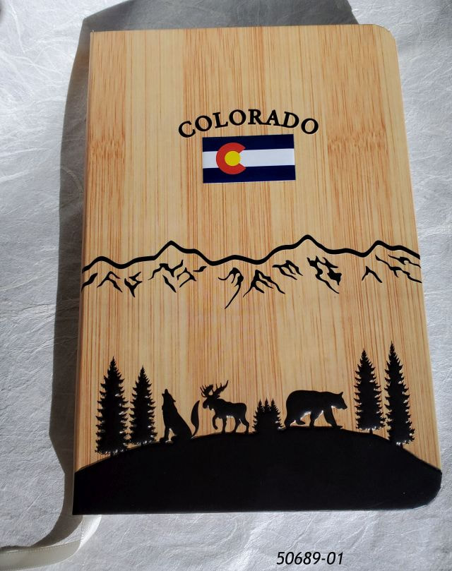 50689-01 Colorado Wood Look Journal Notebook with Flag and animals design.