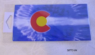 Souvenir Sticker with Tie Dye Colorado Flag design