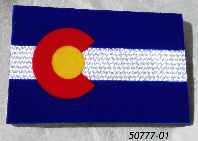 "Colorado souvenir magnet 2"" x 3"" with flocked velveteen flag design."