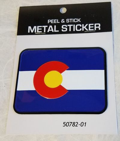 Colorado Souvenir Flag sticker made out of metal