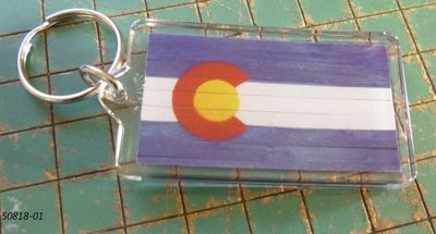 Souvenir Plastic keyring with Colorado Flag design
