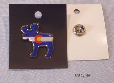 Souvenir Pin Hat Tack with Colorado Flag Moose design.