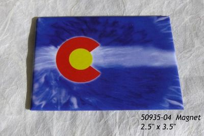 Souvenir Magnet with Tie Dye Colorado Flag design