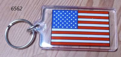 Souvenir plastic keyring with USA flag design