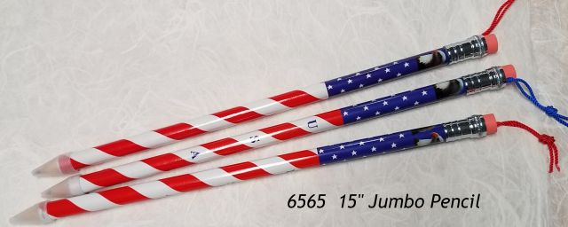 "15"" jumbo pencil with USA Flag design"